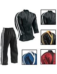 Tenue d'équipe d'arts martiaux - représentation freestyle/club - noir/rayures blanches
