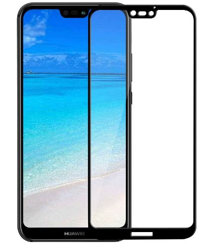 JUMP START Huawei P20 Lite Screen Protector,9H Hardness Front Tempered Glass Screen Protector 5D Full Coverage(Black)