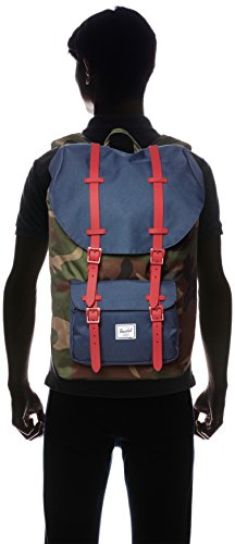 Little America Backpack Woodland Camo/Navy/Red Rubber Backpack