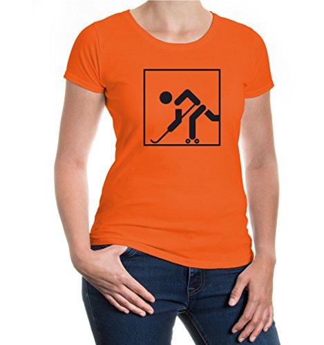 Girlie T-Shirt Rollhockey-Piktogramm-XS-Orange-Black