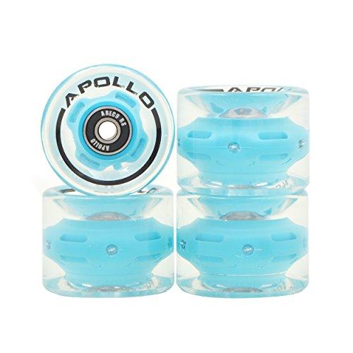 APOLLO Profi LED Rollen, leuchtende Rollen 60x45mm mit HR78A und ABEC-9 Kugellager für dein Skateboard, Mini Cruiser Board, Longboard