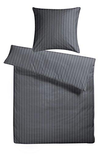 Carpe Sonno Luxuriöse Damast-Bettwäsche in Hotelqualität 135 x 200 cm Anthrazit Grau aus 100{11e8fcf852f30ab89344adafe0f453f43f0e874330d507381e2dc890d0e4b89c} Baumwolle für Besten Schlafkomfort – Hotel-Bettwäsche mit Kopfkissen-Bezug und Edlen Damast-Streifen