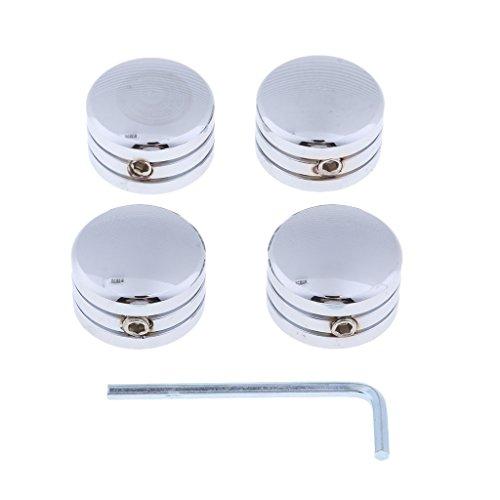 Unbekannt MagiDeal 4 Stücke Schraubverschlüsse + 1 Stück Schraubenschlüssel Motorrad-Schrauben-Bolzen-Kappen - Silber