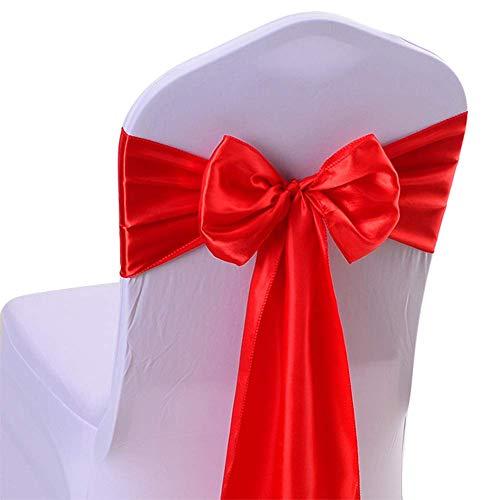 Fliyeong Nastro di Alta qualità per sedie, Decorazione per sedie, Fiocchi in Raso, per Natale, Matrimoni, Banchetti, Decorazioni, Colore: Rosso