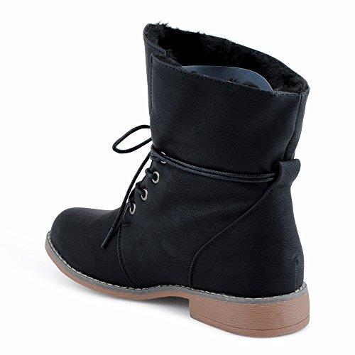 Damen Stiefeletten Stiefel Blockabsatz Schnür Biker Boots Freizeit Schuhe Schwarz/gefüttert