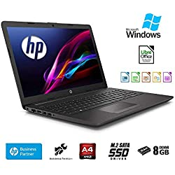 Ordinateur Portable HP 255 G7,15.6 AMD A4 2,60 GHz Turbo Ram 8 Go DDR4/SSD M.2 256 Go,Radeon R3 Graphic, Windows 10 Professional,Bureau,USB 3.0/WiFi/,Clavier QWERTY Italien