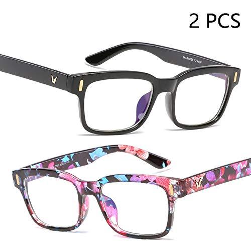 FZXHJ Neue Anti-Blau-Brille, Anti-Ermüdungs-Unisex-Anti-Strahlungs-Computerschutzbrille, Anti-UV-Meter-Nagel-Rahmen Flacher Spiegel,1+9
