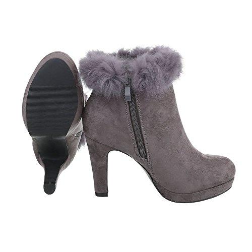 Stivaletti Tacco Alto Scarpe Donna Slip-on Boots Penny / Tacco A Spillo Tacco Alto Cerniera Ital-design Stivaletti Grigio
