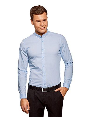 oodji Ultra Herren Baumwoll-Hemd Extra Slim Fit mit Stehkragen, Blau, Herstellergröße 40 (Kragenweite 40 cm)/DE 48/S