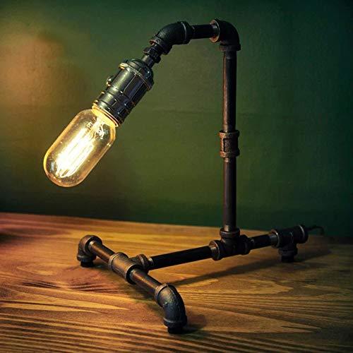 MJBOY Schreibtischlampe Büro Retro Cafe Dekoration Kreative E27 Tischlampe Handgemachte Alte Schwarz Rost Eisen Eisen Wasserleitung Tischlampe Mit Dimmer-Schalter