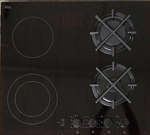 Hybrid Kombi Gaskochfeld 60cm 2 Gaszonen 2 High-Light Zweikreiskochzonen