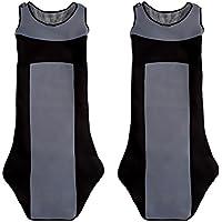 CSC304 - T-Shirt maglietta Schienali cuscino del sedile auto , copertura di sede dell'automobile , Seggiolino Auto Protector , Coprisedili Nero / Grigio (1 coppia)