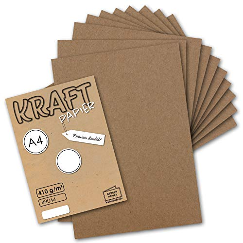 25x Vintage Kraftpapier DIN A4 410 g/m² Natur-braunes Recycling-Papier Bastel-Karton Künstler-Karton Künstler-Pappe I Umwelt by Gustav NEUSER®