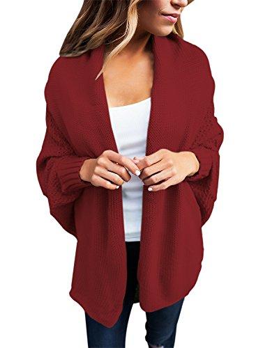 GOSOPIN Frauen Lang Strickjacke Oversize V-Neck Sweatshirt Elastische Lässig Strickmantel Rot M