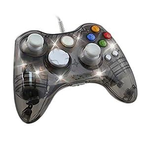 Wired Gamepad für Xbox 360,Ignatv PC Controller mit DualShock und 7 LED für XBOX 360/PC/Windows XP/7/8/8.1/10/Vista(Drittanbieter-Produkt)-Transparent Schwarz