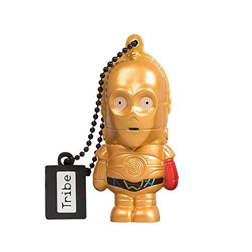 Tribe Disney Star Wars C3PO USB Stick 16GB Speicherstick 2.0 High Speed Pendrive Memory Stick Flash Drive, Lustige Geschenke 3D Figur, USB Gadget aus Hart-PVC mit Schlüsselanhänger – Gold