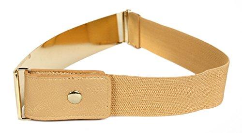 Frauengürtel, Gold Metall oder Silber Metall Platten mit Stretch-elastischen Band, eine Größe 30 x 5 cm Gold Nude (Medizinische Schleifen)
