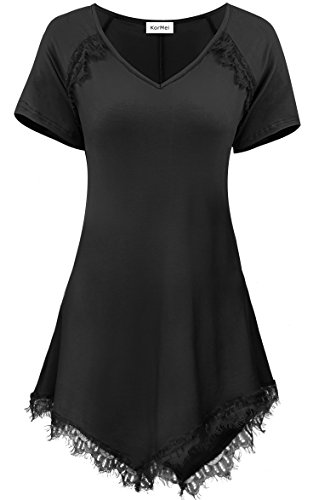 KorMei Damen Kurzarm V-Kragen T-Shirt Bluse mit Lace Saum Sommer Tunika Schwarz