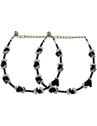 High Trendz Beautiful Black And White Beads Anklet For Women And Girls