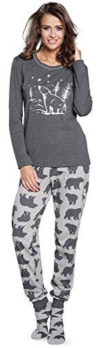 Italian Fashion IF Pijama Conjunto Camiseta y Pantalones Ropa de Cama Mujer IF180002 (Melange, M)