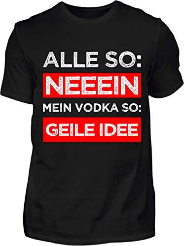 Kreisligahelden T-Shirt Herren Lustig Vodka Geile Idee - Kurzarm Shirt Baumwolle mit Spruch Aufdruck - Karneval Party Junggesellenabschied Fun Saufen Vodka (S, Schwarz)