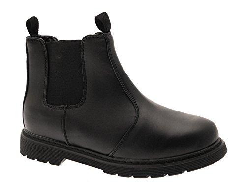 New Boys Schwarze Chelsea Dealer Boots für die Schule aus Kunstleder Schlupfschuhe Größe 39 Schwarz