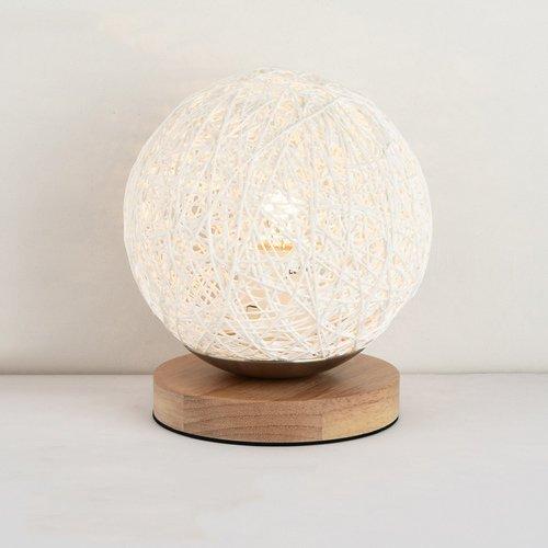 ZYY * Lampe de table en rotin moderne et colorée avec une petite lampe de table Lampe de bureau sphérique en rotin, lampe de lecture à poser, base en bois avec support E27 (Couleur: Blanc)