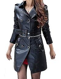 Ledermantel Damen Herbst Winter Vintage Fashion Kunstleder Bikerjacke  Mädchen Langarm Revers Zweireiher Elegante Slim Fit Lederjacke… 6b25dfff8e