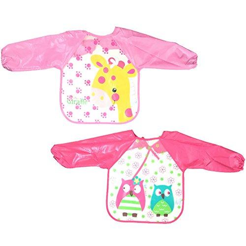 2 pezzi baby bavaglini impermeabile maniche lunghe - tyidalin bambino grembiule da pittura scuola unisex per neonato bimbi