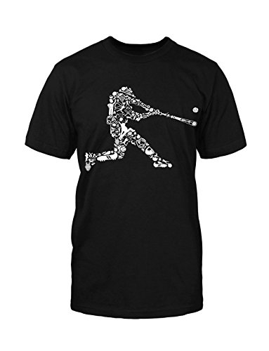Baseball Spieler T-Shirt Fun Player Yankee Twin Funny Lustig Figur Sport Game Schwarz