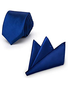 Rusty Bob - Krawatte mit Einstecktuch (in vielen Farben) - für die Verlobung, die Hochzeit - Schlips mit Taschentuch...