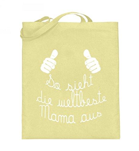 Borsa In Juta Di Alta Qualità (con Manici Lunghi) - Migliore Luce Gialla Mamma