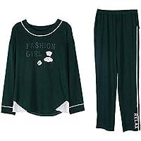 DUKUNKUN Inicio Vestir Pijiama Mujer Pantalones De Cintura Elástica De Manga Larga De Algodón Lounge Ropa De Dormir-XL