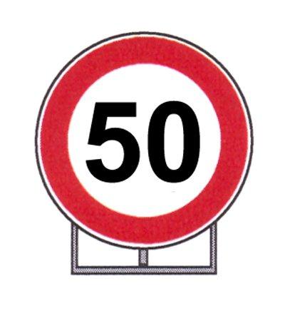 SEGNALE STRADALE CARTELLO CANTIERE VELOCITà 50 KM. D 60