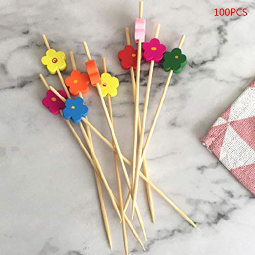 KINTRADE 100 stücke Blume Picks Dessert Buffet Obstsalat Gabel Kuchen Muffin Party Gemüsesticks Cocktail Zahnstocher Kuchen Zeichen