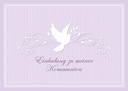 Kommunionskarte Einladung zu meiner Kommunion schöne Einladungskarte zur Kommunion Klappgrußkarte für EIN Mädchen/Junge in Lila/Flieder mit einem Ornament und Taube (Mit Umschlag) (8)