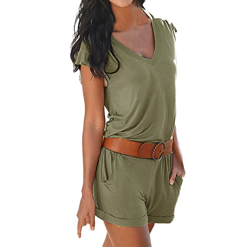 SUNNOW Women's Romper V Neck Elastic Waist Shorts Jumpsuit Playsuit (UK12, Army Green)