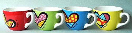 BRITTO 4er Set Cappuccino Tassen Herz - Pop Art Kunst aus Miami