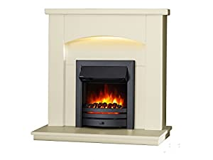 """Endeavour Fires New Cayton Electric 42""""Fireplace Suite, fitted with Black Trim and Fret, 220/240Vac 1&2kW with 7 day Programmable Remote Control in off white MDF fireplace suite."""