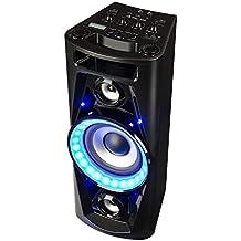 auna PPS 35 • Systema de audio • Altavoces • Subwoofer 14 cm • 40 W de potencia media • Bluetooth • 2 puertos USB con MP3 • AUX • Entrada de guitarra • Iluminación LED • Micrófono • Batería • Negro