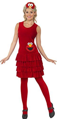 Smiffys, Damen Elmo Kostüm, Kleid und Haarreif, Sesamstraße, -