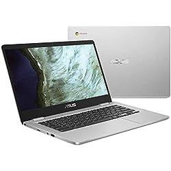 "Asus C423NA-BZ0004 Chromebook 14"" Argent (Intel Celeron, 4 Go de RAM, EMMC 32 Go, Windows 10) Clavier AZERTY Français"