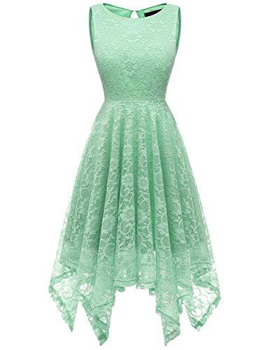 Dresstells Damen Elegant Kleid festlich Ärmellos Taschentuch Saum unregelmäßig aus Spitzen...