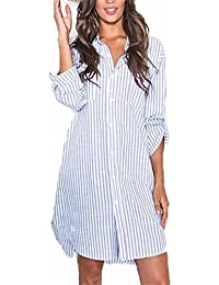 Auxo Women Sexy Loose Button V Neck Long Sleeve T Shirt Casual Irregular Oversized Long Tops Blouse