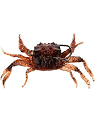 MagiDeal Attirail de Pêche Leurre Souple Crabe Artificiel Crochet Brun