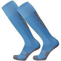 Lymocha 1 Pares Medias de Deportes Compresión Hombres y Mujeres Medias Calcetines Deportivos de Fútbol Calcetines de Fitness y Correr Size 37-45 Yardas (Tira Azul/Negro)