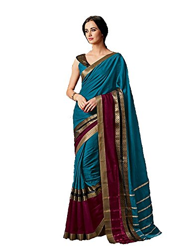Indian Beauty Art Silk Cotton Saree (Charmi-Sky-Blue-1A_Sky-Blue_Free Size)
