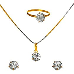 KAAYRA Jewellery Diamond and Gold Plated Combo of Designer Solitaire Pendant Set with Chain, Earrings and Rings for Girls & Women