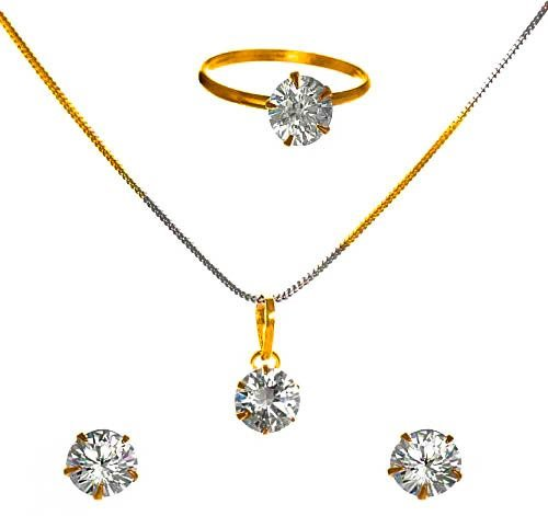 Cardinal American Diamond Stylish Latest Design Party Wear Pendant Necklace Set With Earring For Women/Girls
