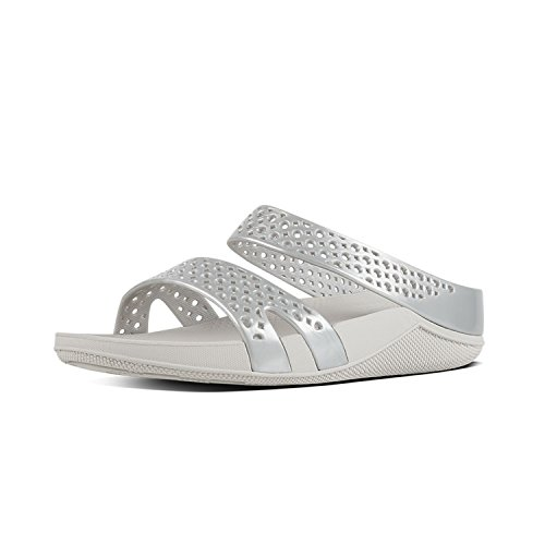 FitFlop Damen Welljelly Z-Slide Sandals Absatz, Silber Silberfarben